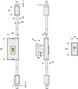 ABUS TSS 550 Stangenschloss-Maße